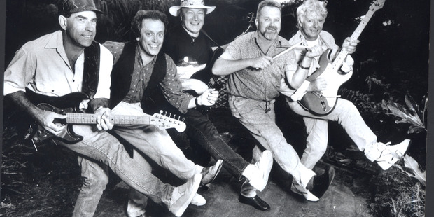 The Invaders 1991 - From Left: Brian Ringrose, Ray Columbus, Billy Kristian, Jimmy Hill and Dave Russell. Photo / Supplied