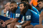 Blues replacement Rene Ranger on the bench during the opening match of Super Rugby season between the Blues and the Highlanders. Photo / Jason Oxenham