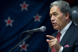 Winston Peters has once again highlighted the apparent cost of replacing the national flag. Photo / Stephen Parker