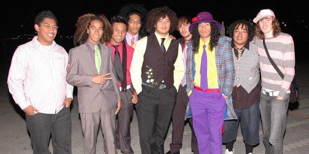 John Soqeta, Willie Manukia, Isi Filisione, Rudy Matamu, Tau Manukia, Metui Finau, Vita Manukia, Tonga Vaea and Stephen Thomas (aka Spacifix) at the Pacific Music Awards.