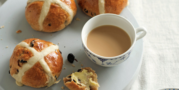 Dried cherry and chocolate hot cross buns.