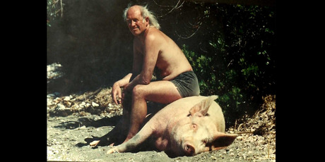 Tony Watkins with friend Piglet the Great in a scene from the Hokianga documentary Hope:Tumanako. PHOTO / SUPPLIED
