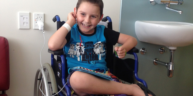 Barclay waiting for his doctor's appointment and chemo at Starship Children's Hospital in Auckland. PHOTO/SUPPLIED
