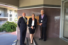 Atalo de la Rocha (Sudima Lake Rotorua Hotel Manager), Sudima Hotels & Resorts' Maree Judd and Trust deputy chairman Pita Anaru. PHOTO/SUPPLIED