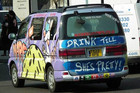 Offensive slogans scrawled across the Wicked Campers vans have been accused of sexual or anti-women overtones. Photo / Supplied