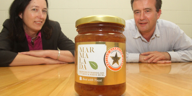 Sally Duckworth and Alisdair Ross with a gold-medal winning marmalade from last year. PHOTO/ANDREW BONALLACK