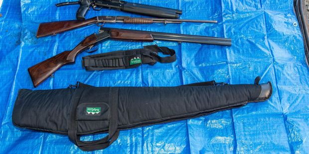 Some of the guns seized by police during a raid on a house in Featherston. PHOTO/SUPPLIED