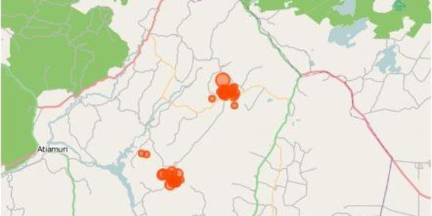 Map showing recent earthquake swarm near Rotorua.