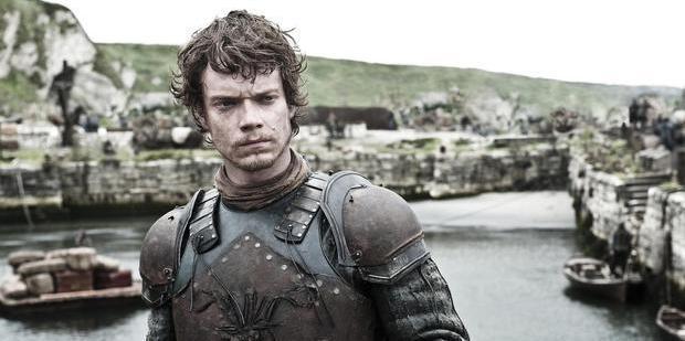 Loading Alfie Allen as Theon Greyjoy in Game of Thrones.