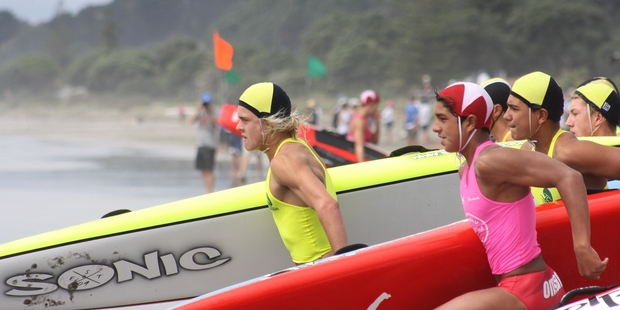 IN FORM: Mitch Cowdrey competing in the U16 Board Race at the NZ Surf Life Saving Championships. PHOTO/SUPPLIED