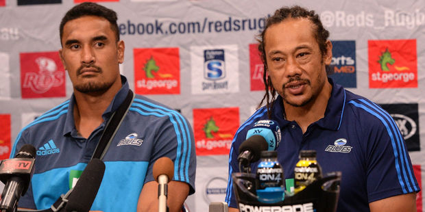 Blues coach and captain Tana Umaga and Jerome Kaino after their draw with the Reds. Photo / Getty