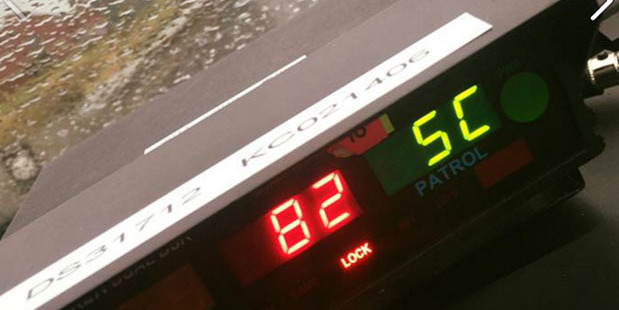 Police caught the driver doing almost double the speed limit in wet conditions. Photo / Facebook