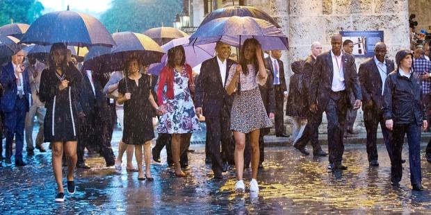 Loading Barack Obama and his family toured Old Havana.  Photo / AP