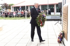 Brian Wells laid a wreath in honour of the dead at yesterday's Memorial Parade in Civic Square. Photo / Duncan Brown