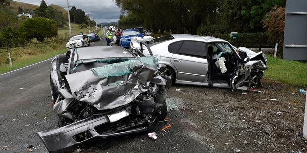 Seven people were injured in the head-on collision. Photo / Paul Rickard, Gisborne Herald