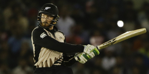 Martin Guptill was named man of the match after making 80. Photo / AP