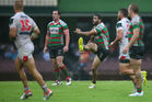 Greg Inglis lines up the fateful drop goal. Photo / Getty