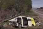 One person is dead after a van carrying seven people left State Highway 6 near Luggate today. Video / Otago Daily Times