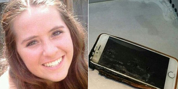 Anna Crail thought her flight was going down after her phone burst into flames mid-flight. Photo / Facebook