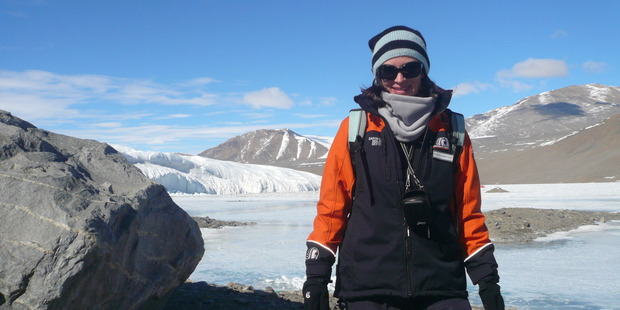 Science writer Dr Rebecca Priestley in front of Canada Glacier, in Taylor Valley, in 2011. Photo / Supplied