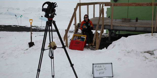 Science writer Dr Rebecca Priestley prepping to film a lecture on Antarctic history for Antarctica Online in 2014. Photo / Cliff Atkins