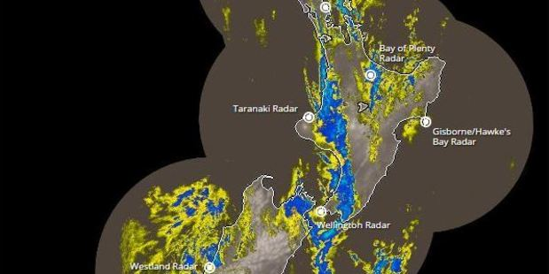 Rain radar shows the worst affected areas around New Zealand. Image / Metservice