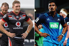 It's been a tough start to the season with Ryan Hoffman and Jerome Kaino, captains of the Warriors and the Blues. Photo / Jason Oxenham and Getty Imges