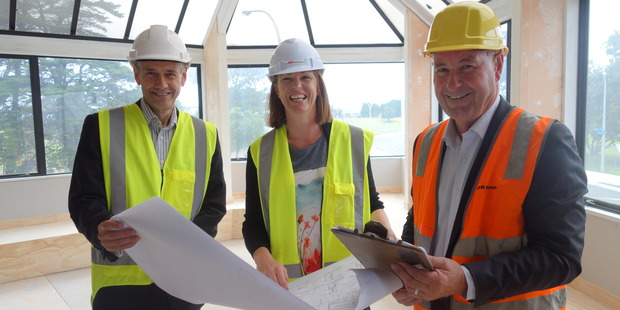 University of Waikato senior deputy Vice-Chancellor Professor Alister Jones (left), centre manager Justine Brennan and Bay Venues chief executive Gary Dawson. Photo/supplied