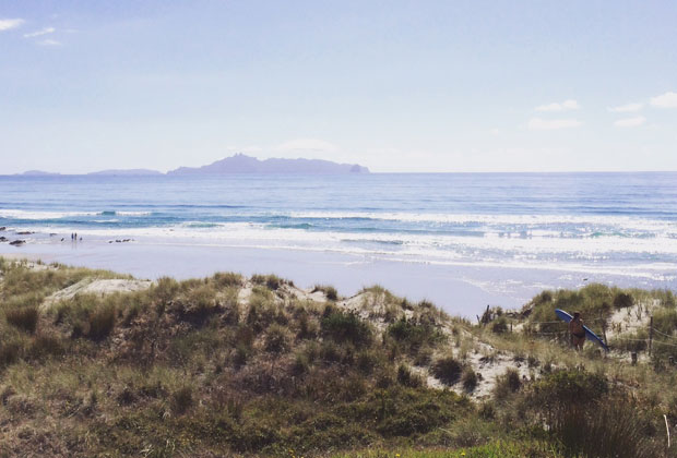 The Mangawhai Heads surf beach sparkles. Photo / Tennessy Weir