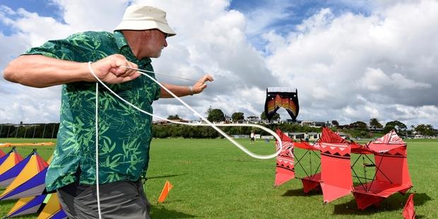 Malcolm Hubbert launches his kite at Fergusson Park. Photo / George Novak
