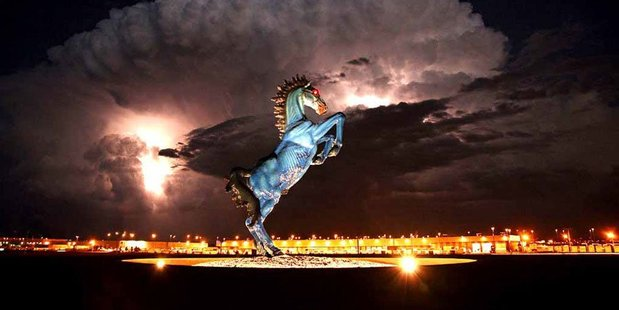 An ominous bucking horse greets visitors to Denver International Airport. Photo / Eric Golub, Flickr