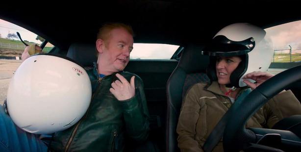 Top Gear hosts Chris Evans and Sabine Schmitz.