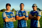Karl, Jacob and Jonah Lowe will play together for Clive for the first time next week. Photo / Warren Buckland