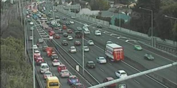 Traffic has backed up due to the crash in the Auckland suburb of Newmarket. Photo / NZTA