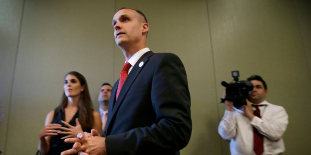 Republican presidential candidate Donald Trump's campaign manager Corey Lewandowski watches as Trump speaks in Dubuque, Iowa. Photo / AP
