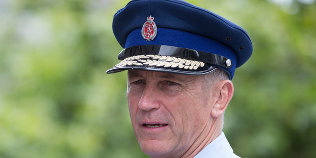 Commissioner of New Zealand Police Mike Bush, during his visit to Auckland Central Police Station, Christmas Day. Photo / Brett Phibbs