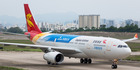 The plane was evacuated just before takeoff, after a passenger spotted a flat tyre. File photo / YBen, Wikimedia Commons