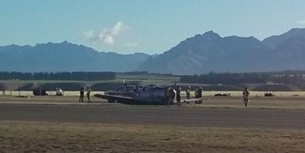 The wartime Harvard crashed shortly after take off. Photo / Twitter / NZAviation