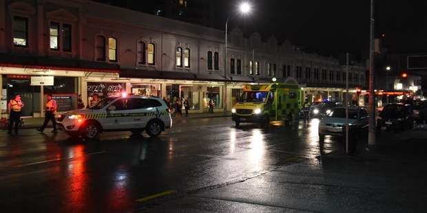 The accident happened on Karangahape Road between Howe and Hereford streets just after midnight. Photo / Daniel Hines