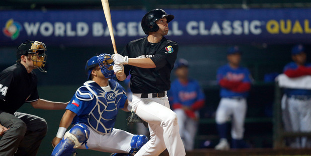 Scott Campbell during Game 5 of the 2013 World Baseball Classic Qualifier. Photo / Getty Images