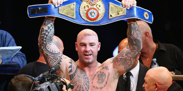 Lucas Browne celebrates after he defeated James Toney in the WBC super heavyweight bout. Photo / Getty