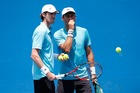 Marcus Daniell and Artem Sitak of New Zealand talk during the Australian Open. Photo / Getty Images