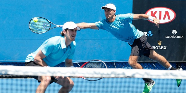 Marcus Daniell and Artem Sitak of New Zealand compete during the ASB Classic. Photo / Getty Images