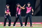 New Zealand White Ferns captain Suzie Bates celebrates at the Twenty20 World Cup. Photo/Getty.