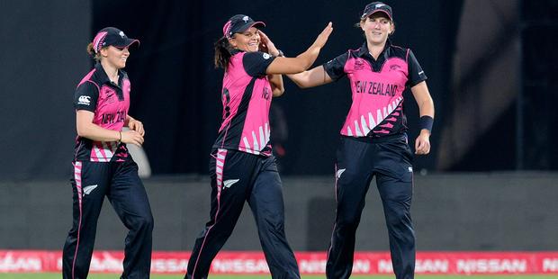 New Zealand White Ferns captain Suzie Bates celebrates at the Twenty20 World Cup. Photo/Getty.