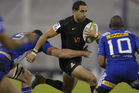Jaguares' full back Joaquin Tuculet takes on the Stormers defence. Photo / Getty