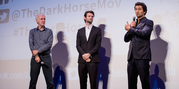 James Cameron, James Napier Robertson and Cliff Curtis on stage at The Dark Horse premiere in Los Angeles. Photo/Getty