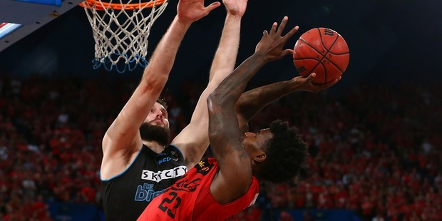 Alex Pledger defends Casey Prather during game three of last season's NBL Finals series. Photo / Getty Images