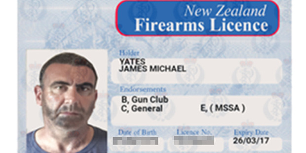 Police released this New Zealand forged firearms license in the name of James Michael Yates. Photo / Supplied