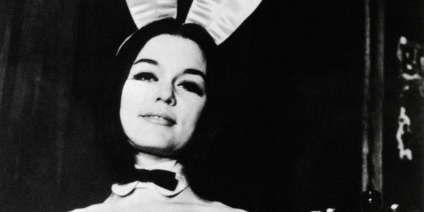 Gloria Steinem wearing a Playboy bunny costume in 1960.